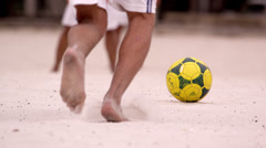 Slow motion pan of soccer game at Tavares Bastos Favela in Rio de Janeiro, Stock Footage