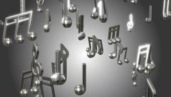 Music notes metallic colors looping animated background Stock Footage