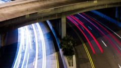 4k Night Time Lapse Freeway Bridge Overpass - stock footage