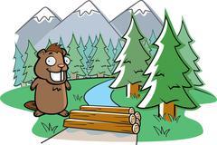 Beaver dam Stock Illustration