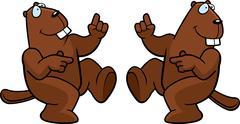 Beaver dancing Stock Illustration