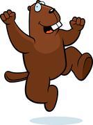 Beaver jumping Stock Illustration