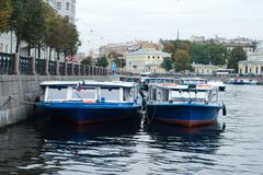 Pleasure river boats in st. petersburg Stock Photos