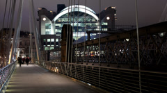 Charing Cross Station from Bridge at Night Stock Footage