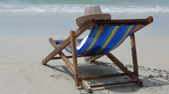Chaise lounge on the tropical beach of Thailand and sea surf 20140312081331 H Stock Footage