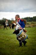Reenactment battle of the borodino between russian and french armies Stock Photos