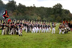 Reconstruction of military battle russian and french armies Stock Photos