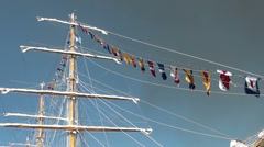 1336 Mainmast with colorful flags Stock Footage