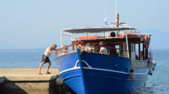 Boat departing from Pelion in Greece Stock Footage