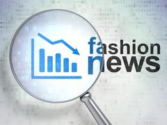 News concept: Decline Graph and Fashion News with optical glass - stock illustration