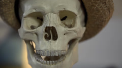 Frontal shot of a skull uttering some words Stock Footage
