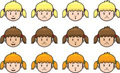 Girl expressions Stock Illustration