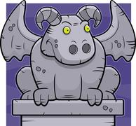 cartoon gargoyle - stock illustration