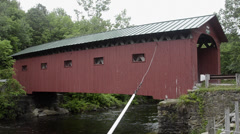 Depot Bridge in West Arlington Vermont VT 1840 red old historical Stock Footage