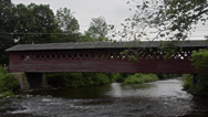 Stock Video Footage of Henry Bridge in Bennington Vermont VT 1840 red old historical over the river