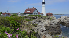 Beautiful scenic Maine in Portland Maine at the Portland Head Lighthouse with Stock Footage