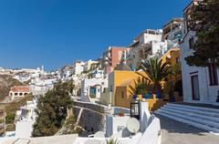 View of Fira and Imerovigli Stock Photos