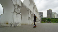 RIO DE JANEIRO, BRAZIL - JUNE  23: Slow dolly shot of spinning skateboarder on Stock Footage