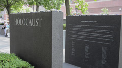 Downtown Boston MA old town Freedom Trail the Holocaust Memorial in park Stock Footage