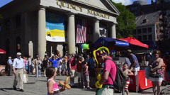 Downtown Boston MA old town Freedom Trail Quincy Market with little girl and Stock Footage
