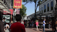Downtown Boston MA old town Quincy Market Freedom Trail Stock Footage