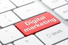 Advertising concept: Digital Marketing on computer keyboard Stock Illustration