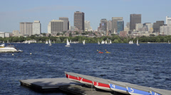 Boston MA harbor boats Charles River from Cambridge towards Boston with Stock Footage