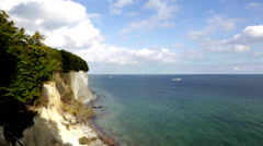White Cliffs Of Rügen Island With Ocean - Ship Going By - stock footage