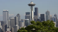 Stock Video Footage of Seattle, Washington skyline from Queen Anne's Hill with Mt Rainier visable in