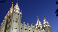 Night exposure of the famous Morman Temple in Salt Lake City Utah in Western USA Stock Footage