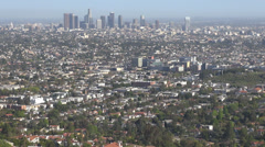 Panorama LA Los Angeles famous cityscape foggy day horizon suburb America city  Stock Footage
