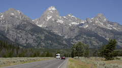Grand Tetons Mountain range in beautiful Jackson Hole Wyoming with natural Stock Footage