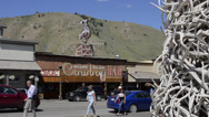 Stock Video Footage of Jackson Hole Wyoming antlers archway famous downtown in center of city