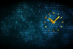 Stock Illustration of Time concept: Clock on digital background