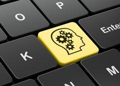 Marketing concept: Head With Gears on computer keyboard Stock Illustration