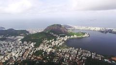 Pan of Rio de Janeiro taken from the top of Corcovado Mountain. Stock Footage