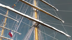 1338 Mast of a sailboat with sails installed Stock Footage
