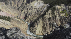 Yellowstone National Park in Wyoming Canyon at Lower Falls majestic scene at Stock Footage