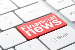News concept: Financial News on computer keyboard background - stock illustration