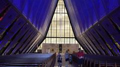 Colorado Springs Colorado Air Force Academy famous Chapel Church interior blue Stock Footage