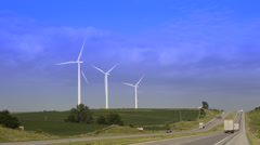 Wind Power and highway road in Iowa green Stock Footage