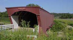 Winterset Iowa home of Bridges Of Madison County, famous Holliwell Bridge 1880 Stock Footage