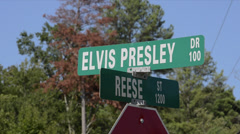 Elvis Presley Drive in Tupelo Mississippi road sign of his birth place - stock footage
