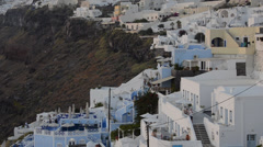 White buildings in wonderful Fira in Santorini Greece high up on the cliffs in Stock Footage