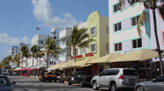 Pastel Retro Art Deco District of South Miami Beach Ocean Drive restaurants and - stock footage