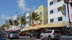 Pastel Retro Art Deco District of South Miami Beach Ocean Drive restaurants and Stock Footage