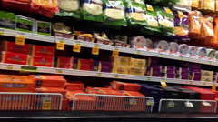 Cheese Aisle In Supermarket Stock Footage