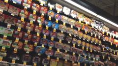 Deli Packaged Meats Aisle In Supermarket 2 - stock footage