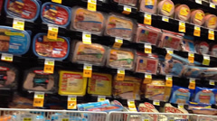 Deli Packaged Meats Aisle In Supermarket Stock Footage