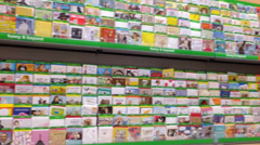 Stock Video Footage of Greeting Cards Aisle In Supermarket